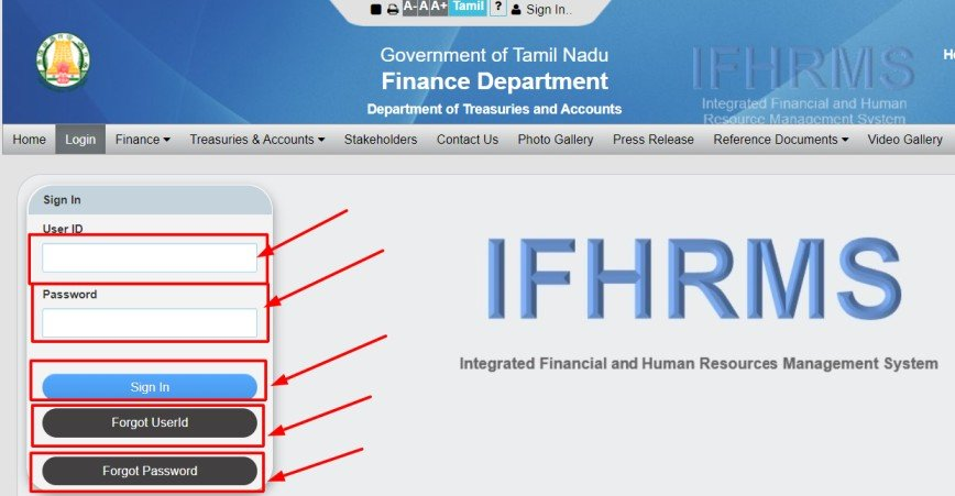 ifhrms login user id and password karuvoolam.tn.gov.in -IFHRMS login ifhrms login index